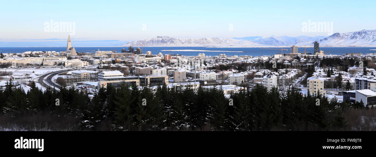 High angle view of the City centre streets, Reykjavik city, Iceland - Stock Image