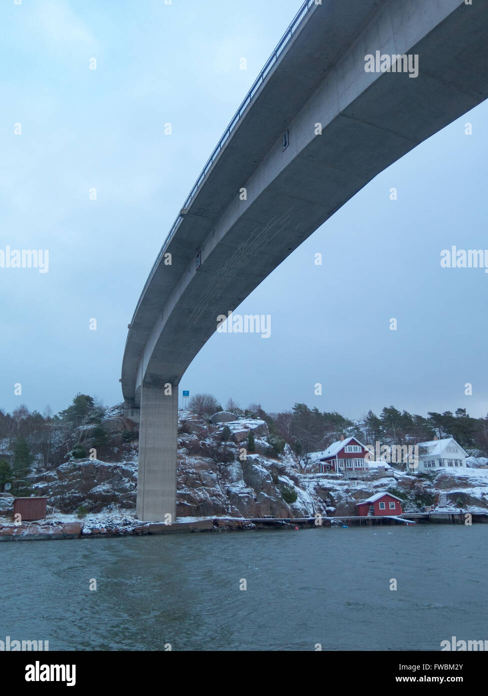 the bridge between orust and tjorn in winterlandscape Stock Photo