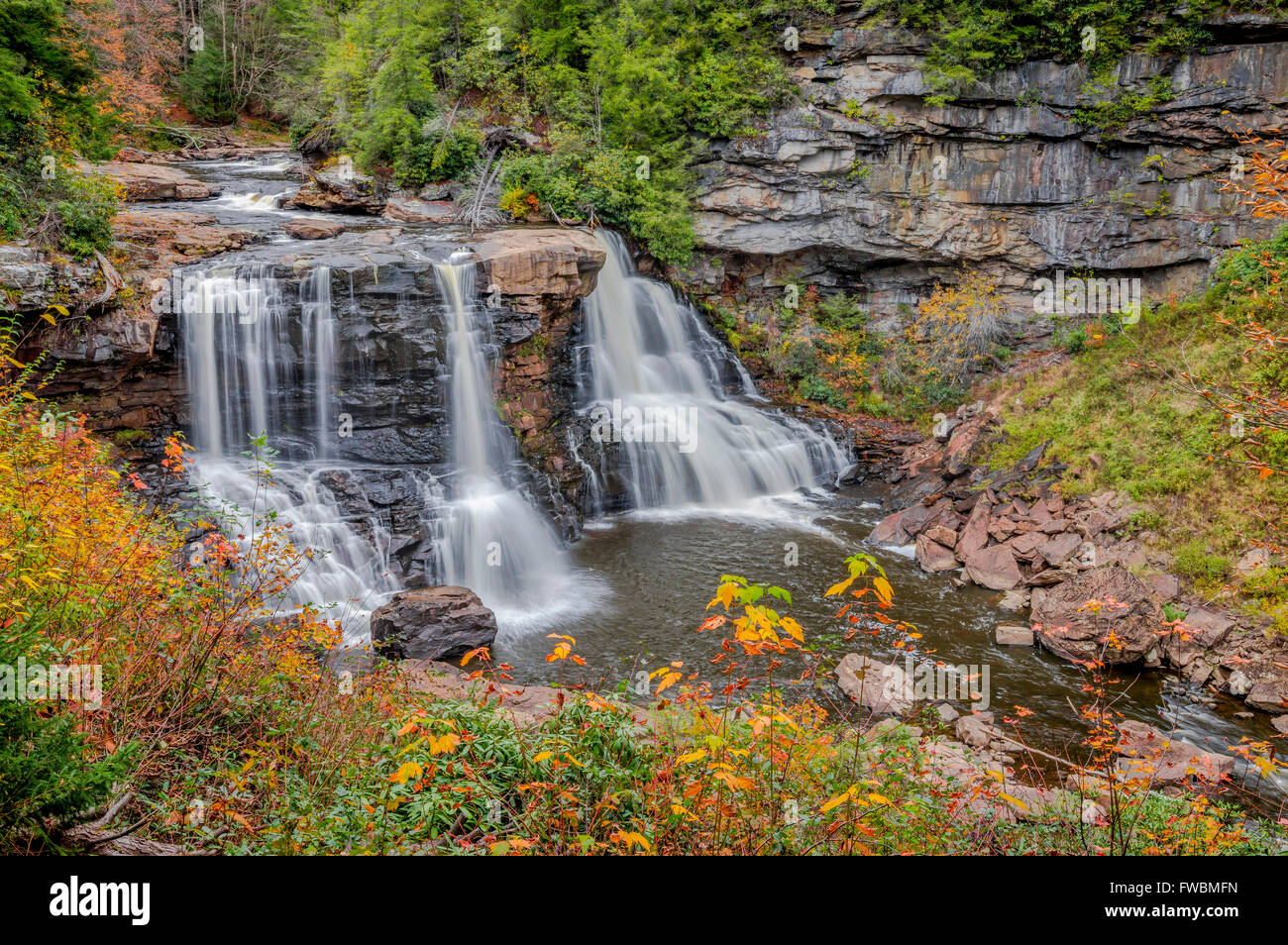 The iconic Blackwater falls as shot from the main overlook in autumn West Virginia, USA. - Stock Image