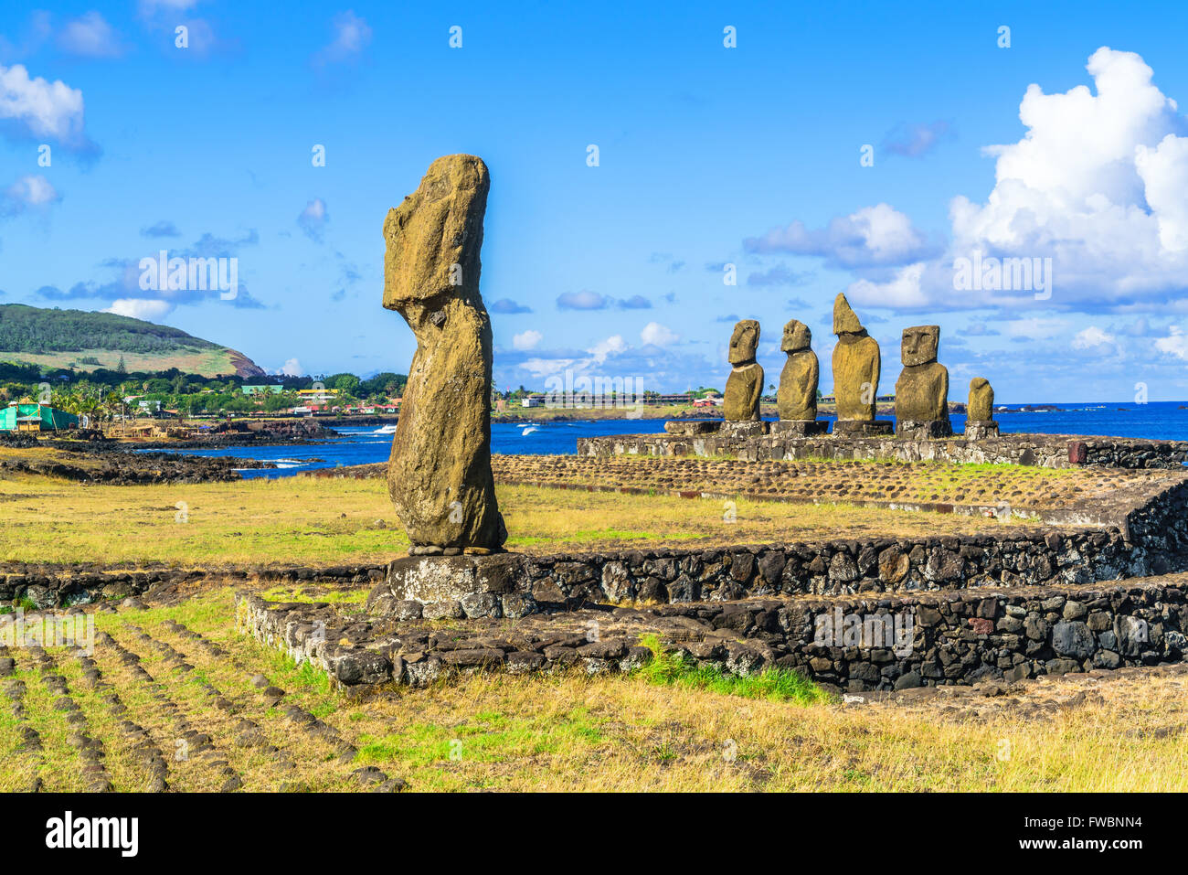 Ahu Tahai and Ahu Vai Uri in Tahat Archeological Complex, Easter Island, Chile - Stock Image