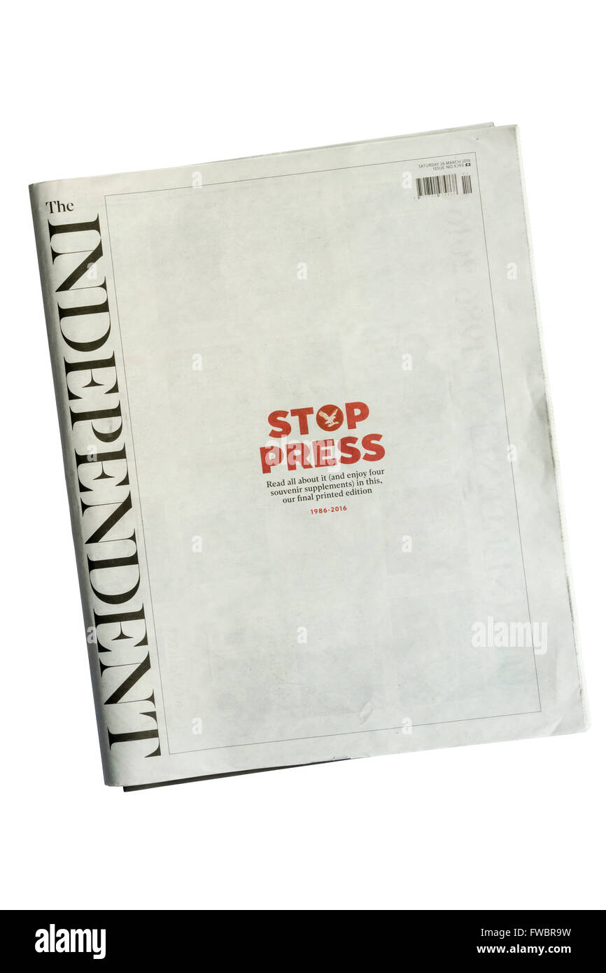 The final print edition of The Independent newspaper. - Stock Image