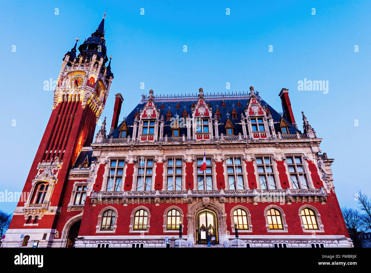 Calais city hall. Calais, Nord-Pas-de-Calais-Picardy, France. - Stock Image