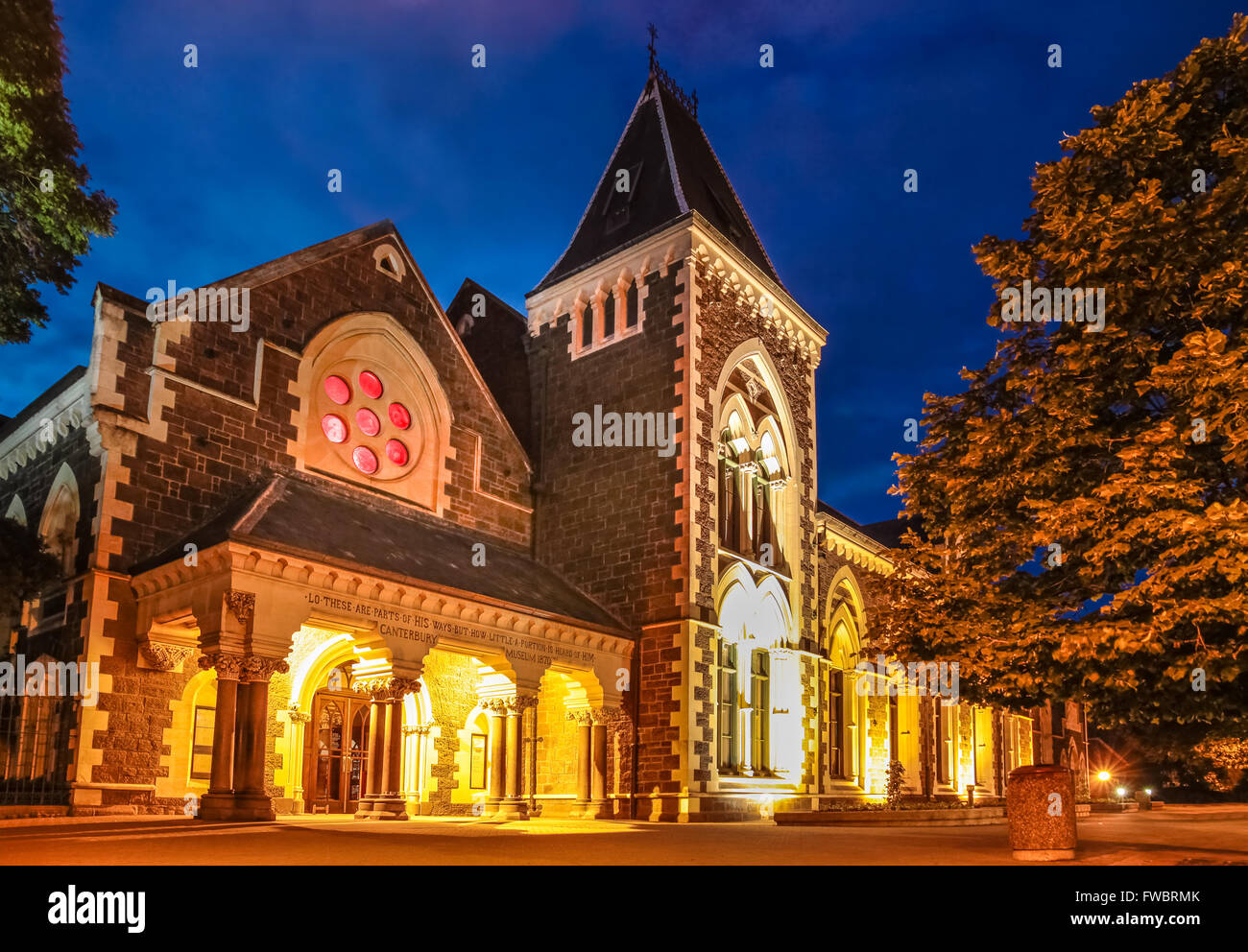 Christs College in Christchurch at night, Canterbury, South Island,  New Zealand - Stock Image