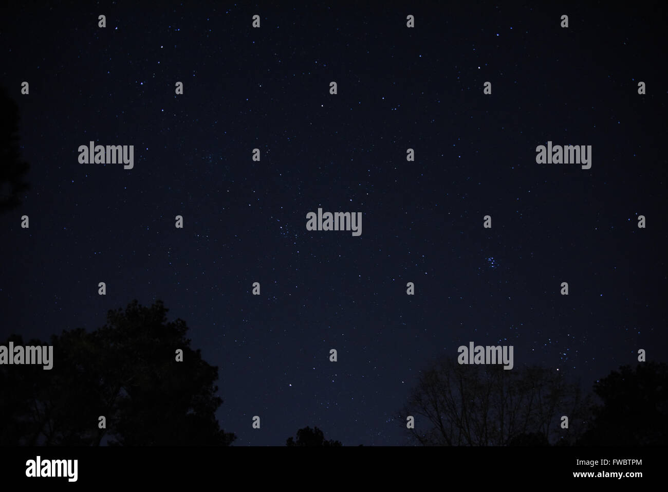 Northeastern late fall early evening sky with stars and constellations clearly visible. - Stock Image