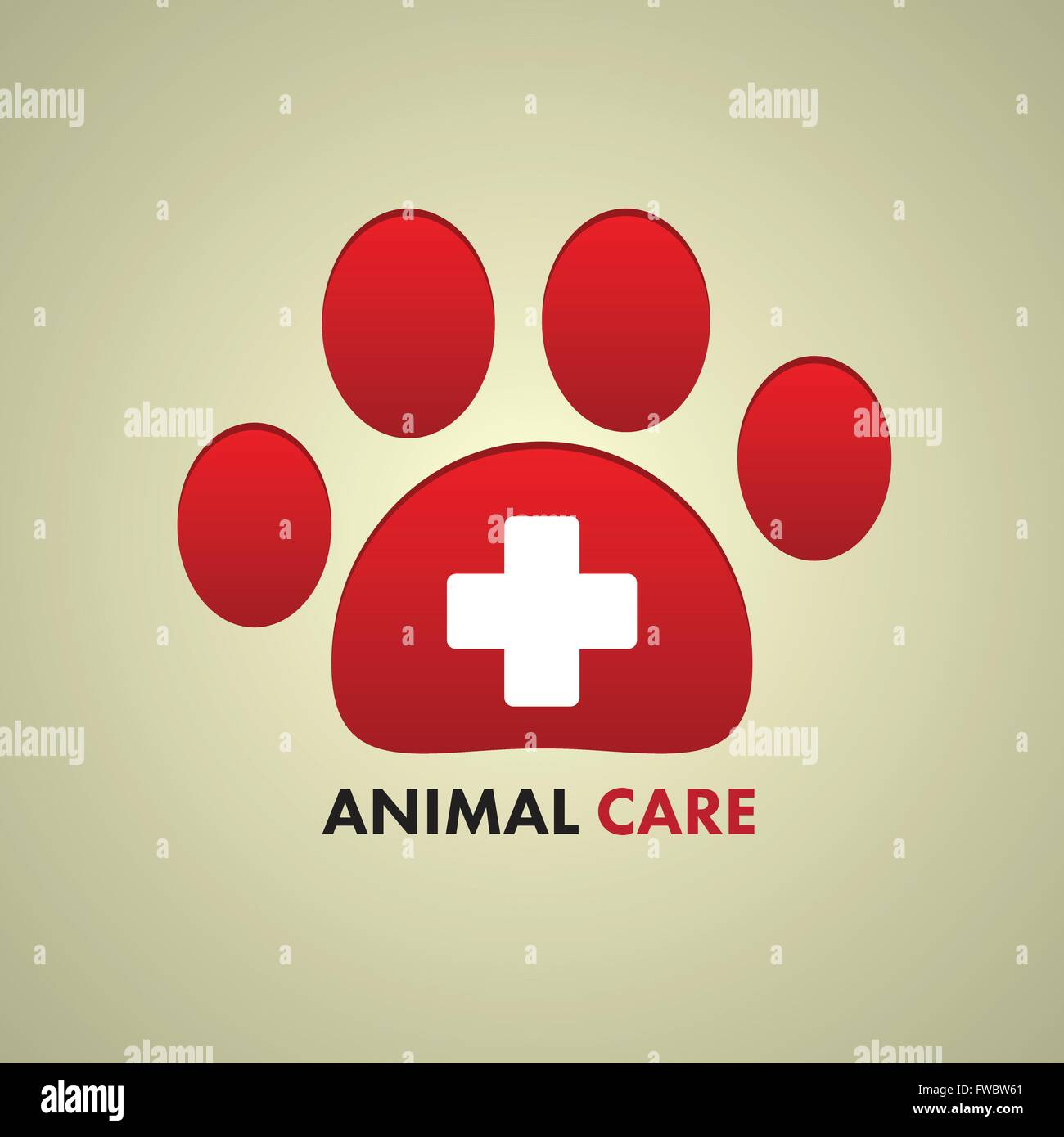 aw print and cross sign. Vector illustration. Animal care symbol. - Stock Vector