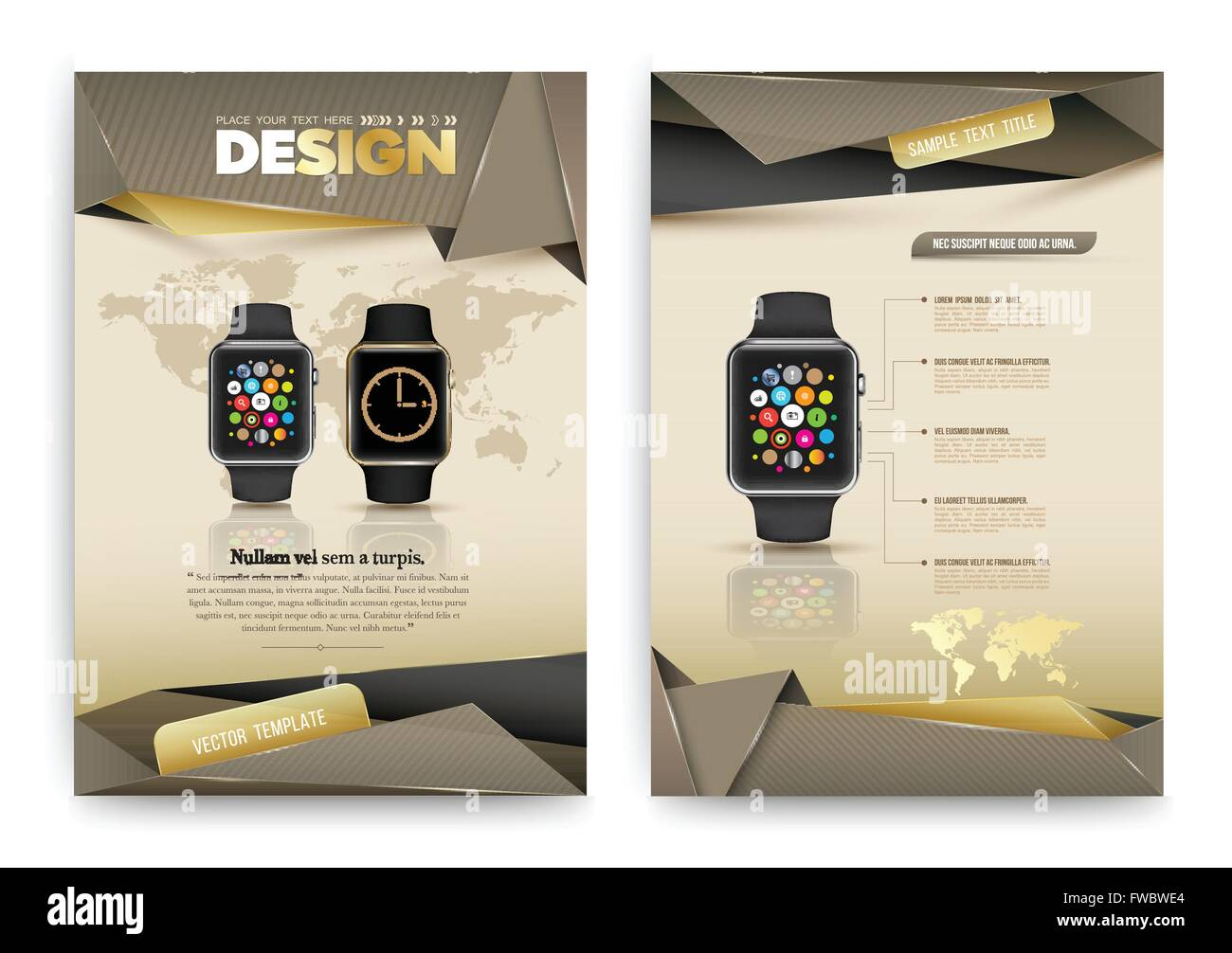 abstract vector brochure template with smart watch flyer layout