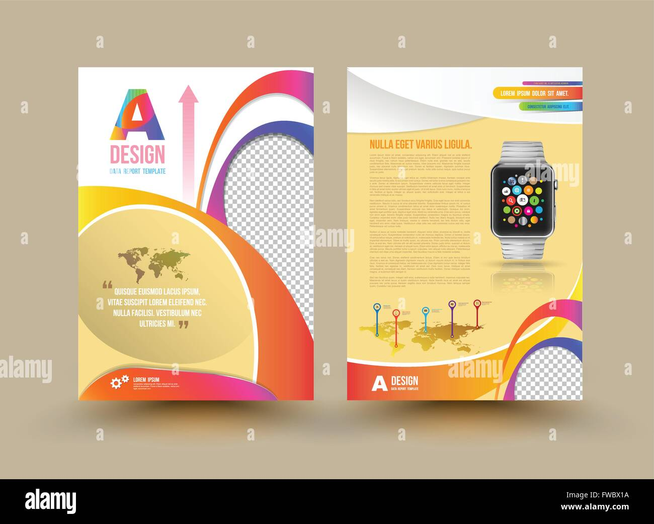 Vector Brochure Template Design With Smart Watch Business Graphics - Brochures template