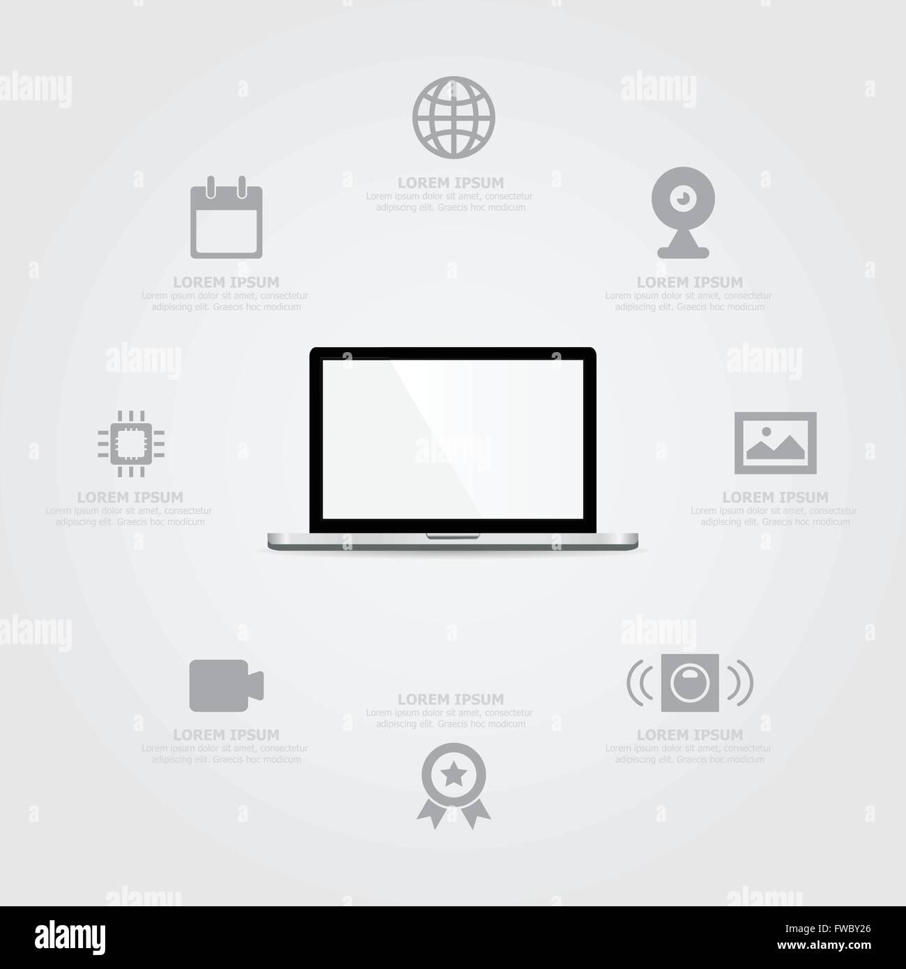 Laptop Information background - Stock Image