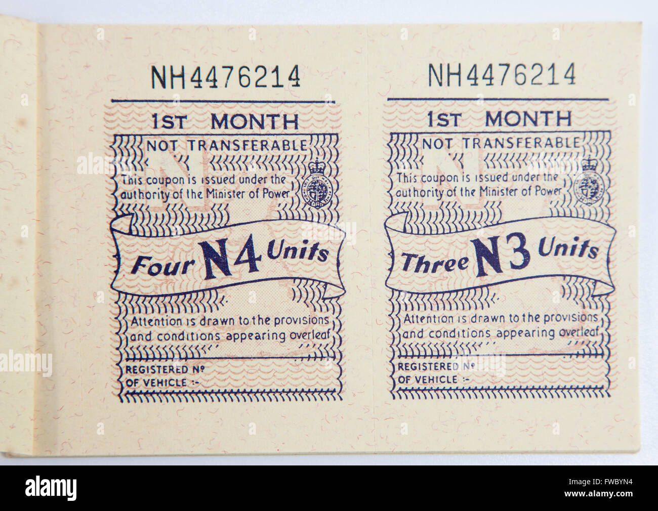 WWII Motor Fuel Ration Book Stock Photo