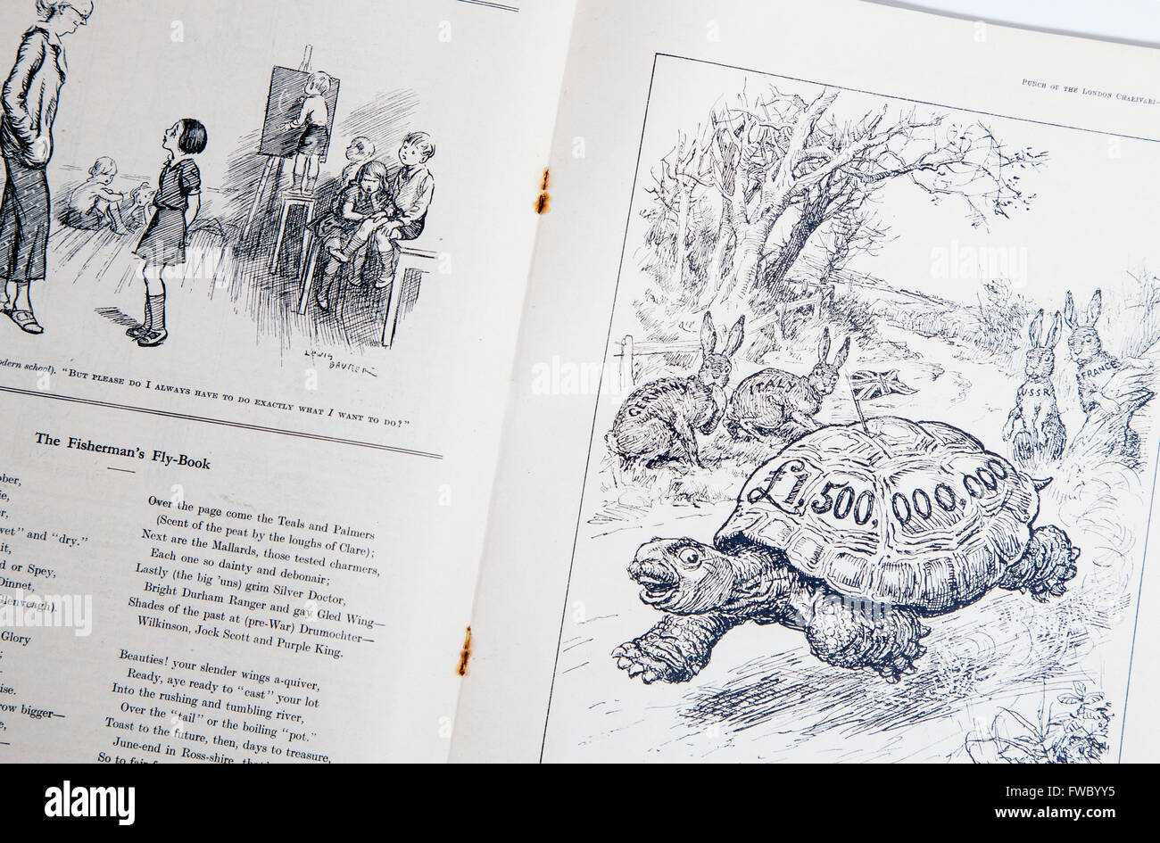 1930s Punch magazine showing inside pages and cartoons - Stock Image