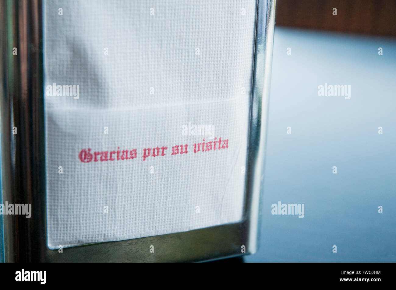 Thanks for your visit. Paper napkin. Spain. - Stock Image