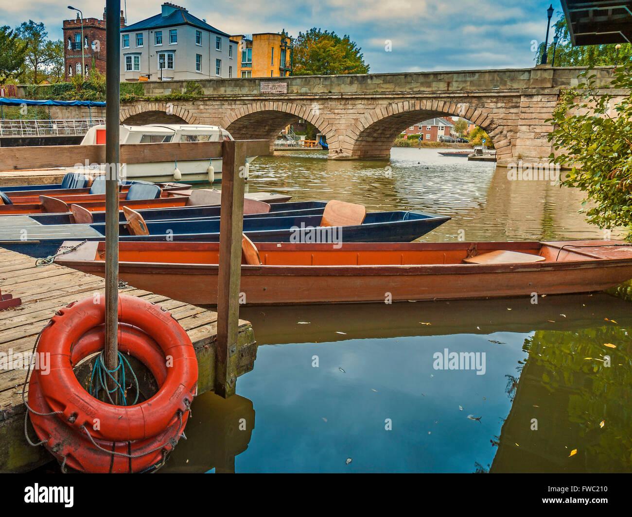 Punts At Folly Bridge  Oxford UK - Stock Image