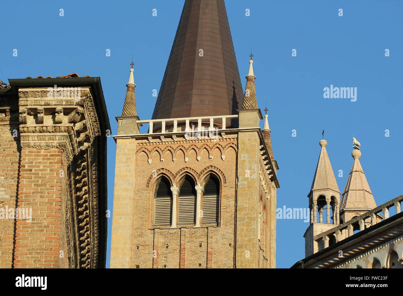 Duomo (Cathedral) Bell Tower and Baptistry, Parma, Emilia-Romagna, Italy - Stock Image