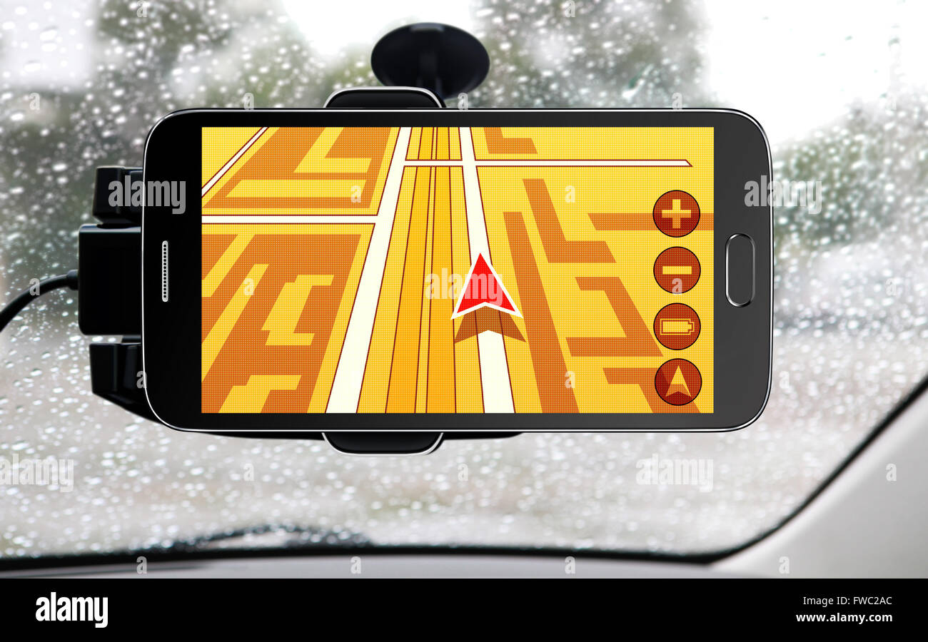 portable device for navigation of car - Stock Image