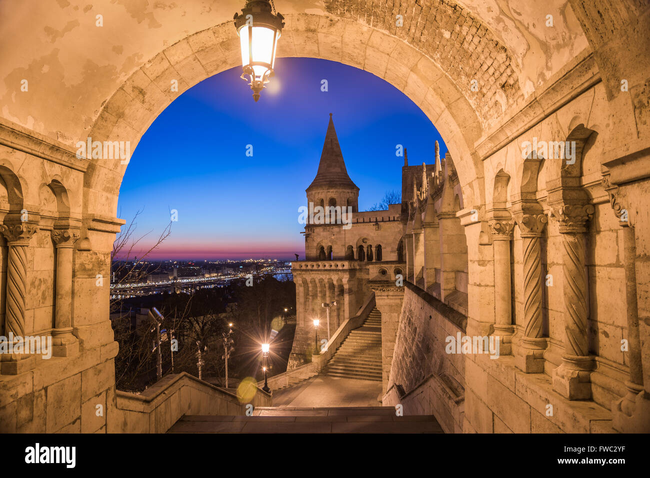 North Gate of Fisherman's Bastion in Budapest, Hungary Illuminated at Dawn - Stock Image