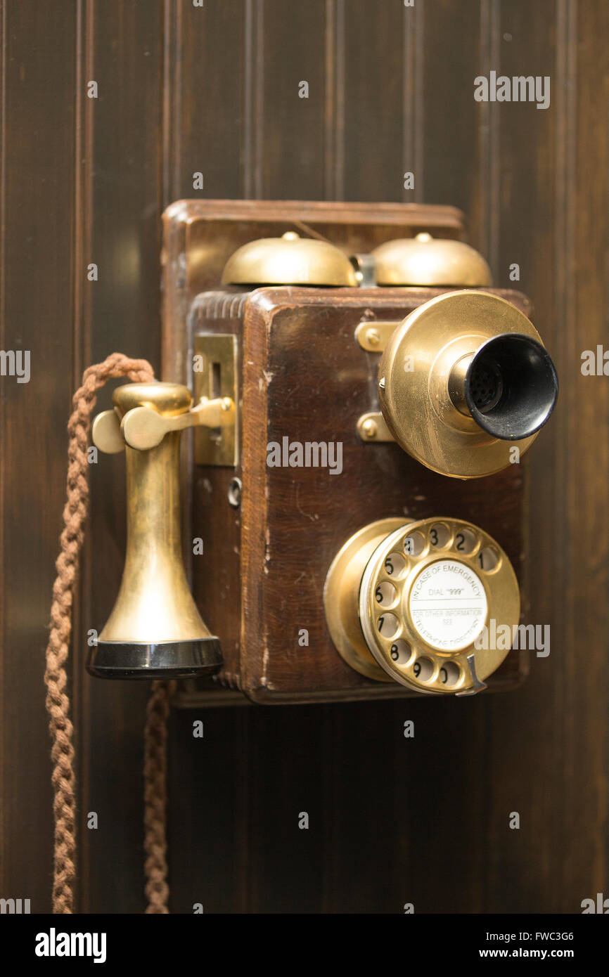 Old fashioned rotary telephone - Stock Image