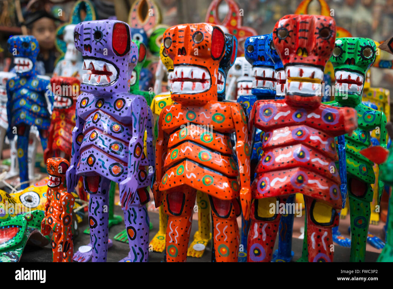 Nim Po't, souvenir shop in Antigua, Guatemala. Typical painted dolls. Nimpot is a handicraft shop located in the heart of Antigu Stock Photo