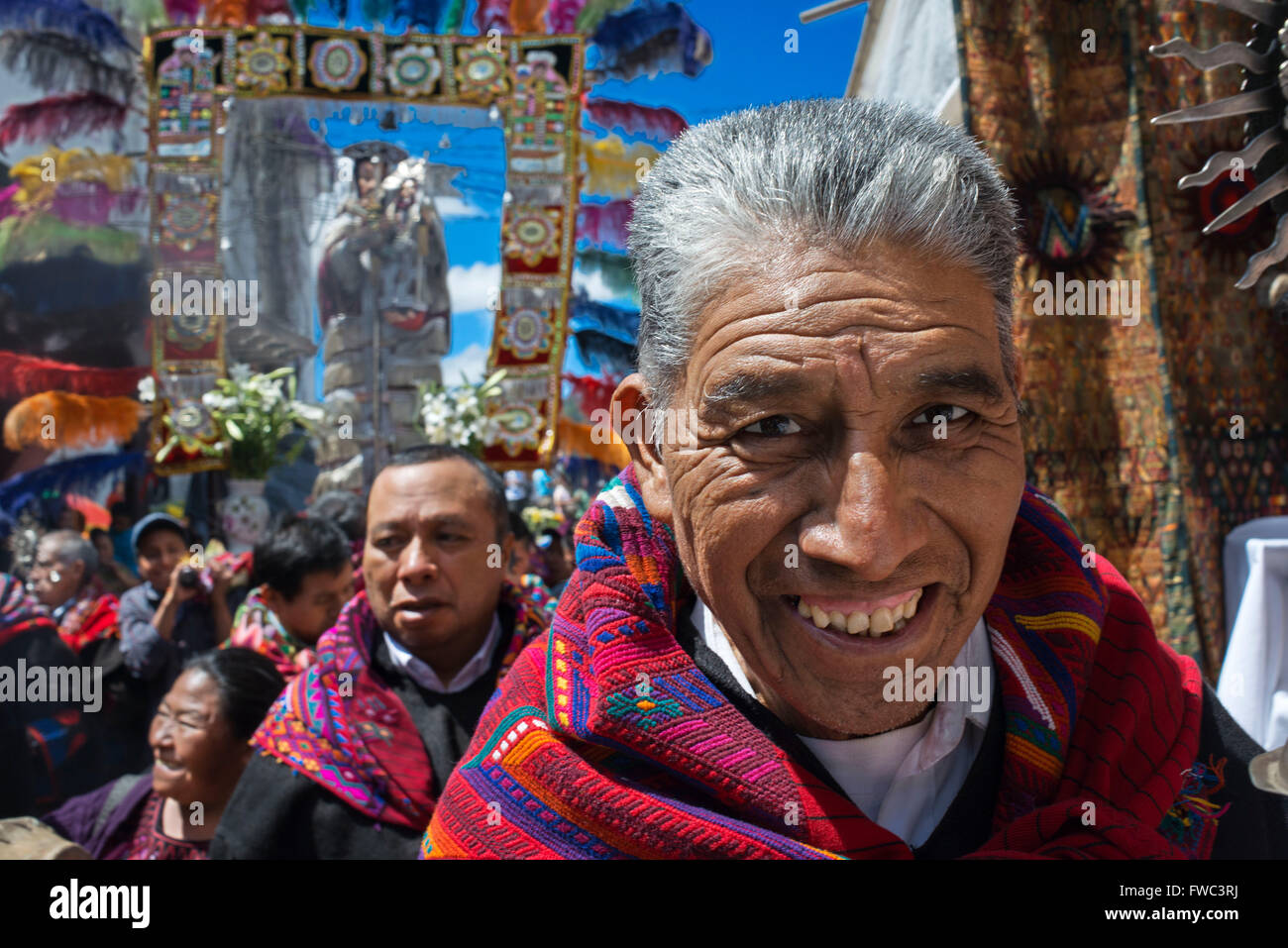 Chichicastenango, Quiche, Guatemala, Central America. Processions of Festival of Santo Thomas.  On Easter Sunday Stock Photo