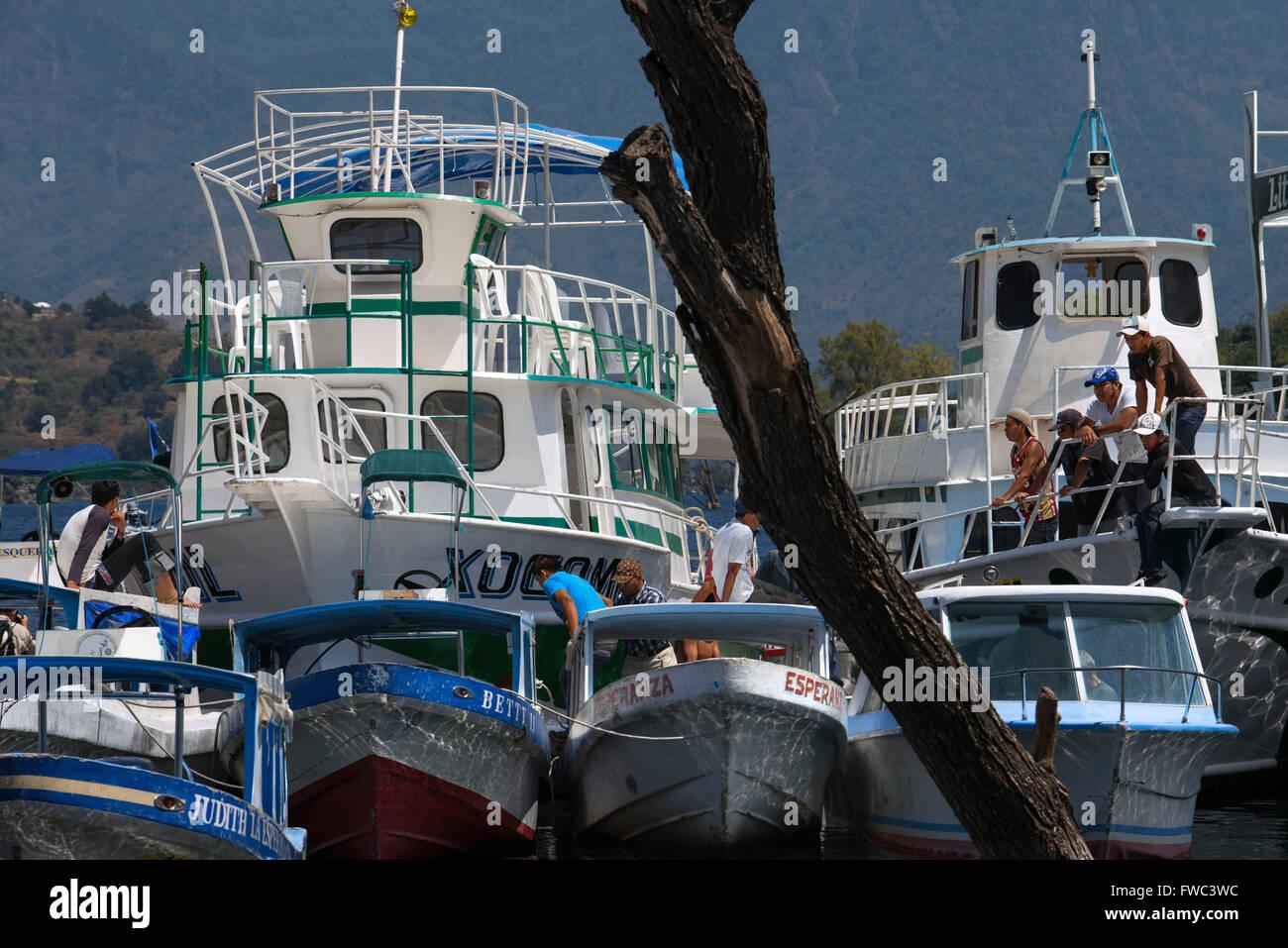 Boats in the dock of Santiago Atitlan, Lake Atitlan, Guatemala, Central America. Stock Photo