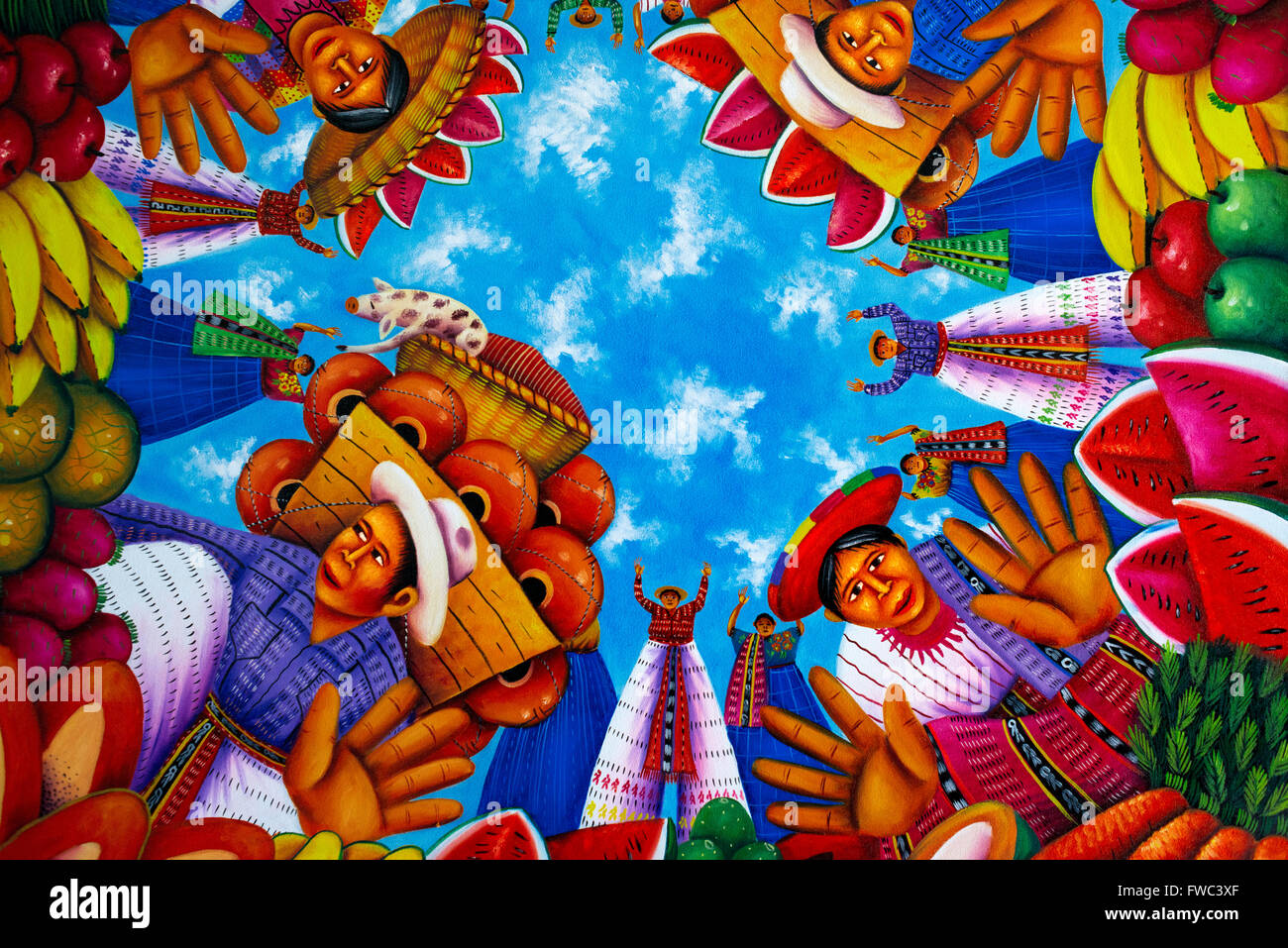 'Birds Eye' by Antonio Coché. Art Gallery 'Chiya' in San Juan La Laguna, Sololá, Guatemala. - Stock Image