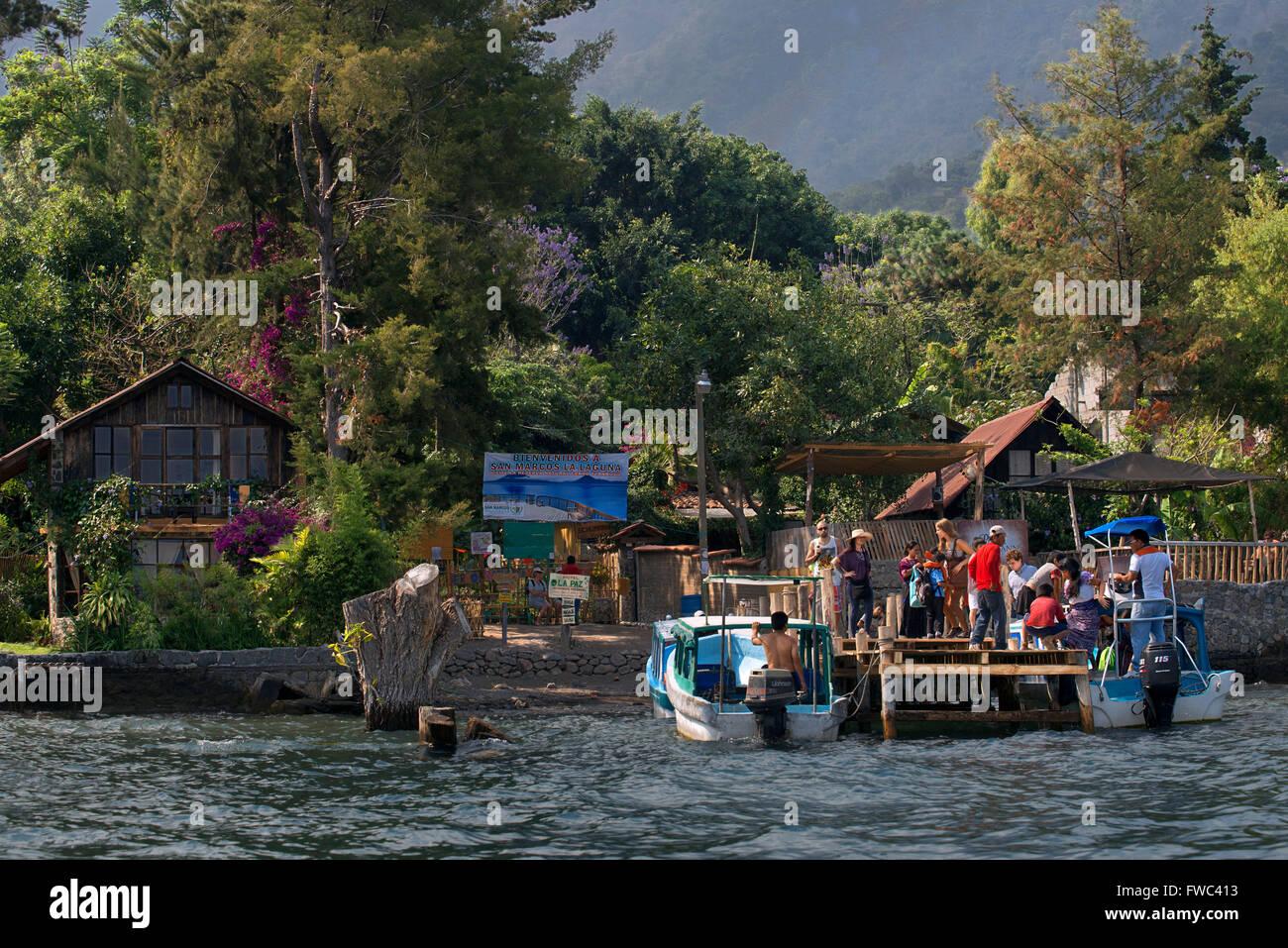 Wellcome to San Marcos La Laguna, Sololá, Guatemala. Santiago Atitlan, lake Atitlan, Guatemala. Stock Photo