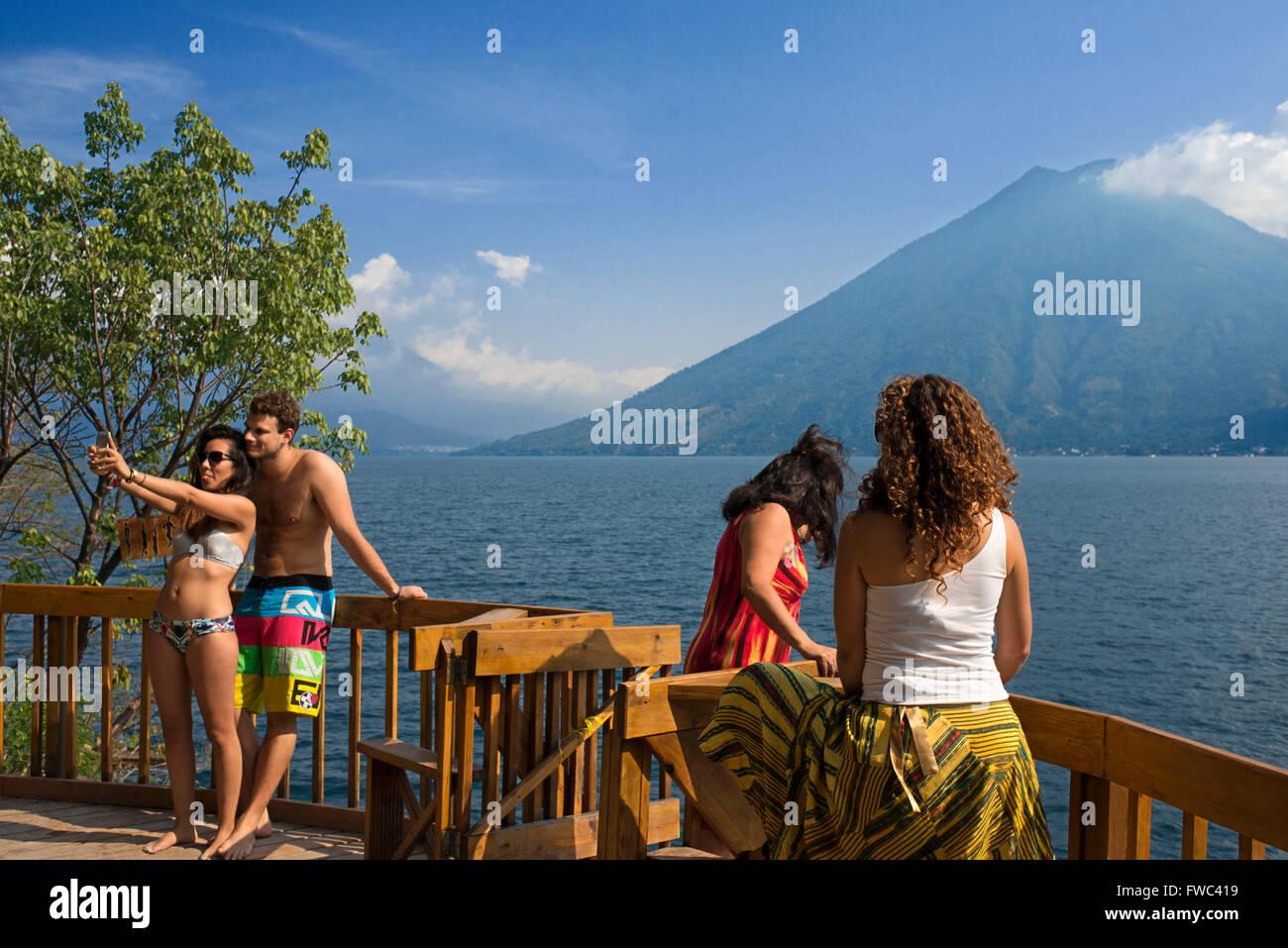 San Marcos La Laguna, Atitlán lake jump: Cerro Tzankujil Trampolin and Miradores. People taken pictures and - Stock Image