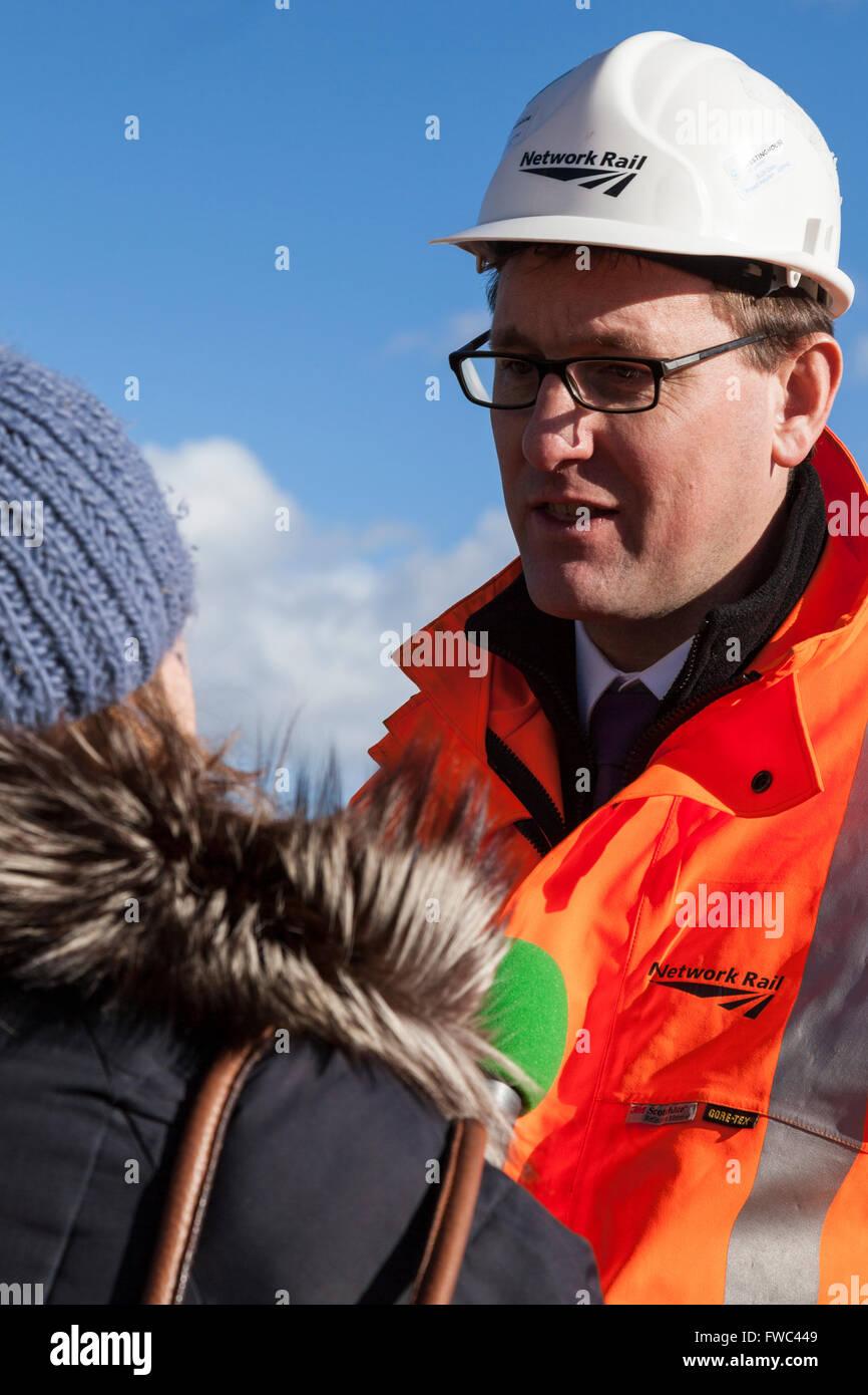 07/02/14  Network Rail's Patrick Hallgate -  Dawlish Railway Station TV interviews re strom damage - Stock Image