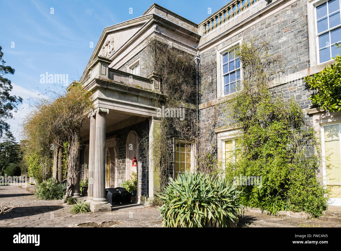 Front entrance of a stately home, with climbers growing up the front portico - Stock Image