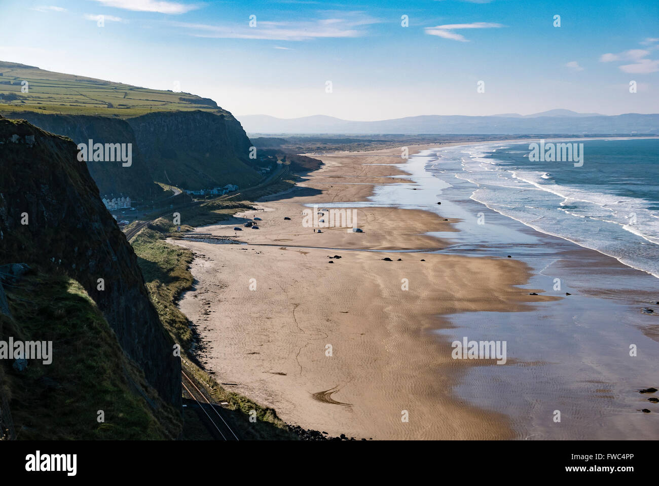 View of Downhill beach from Mussenden Temple, County Londonderry, Northern Ireland, UK, United Kingdom - Stock Image