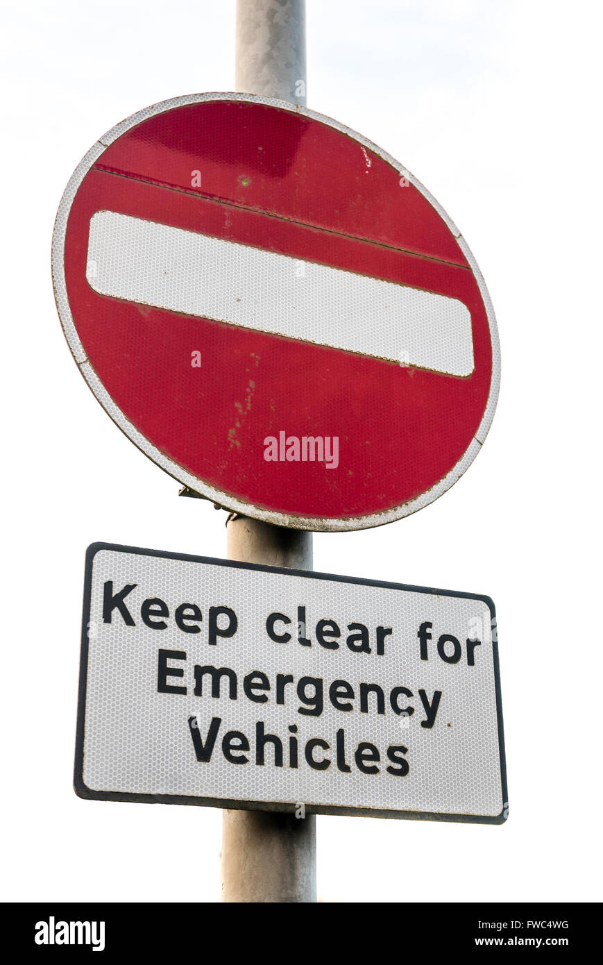 No entry road sign warning motorists to keep clear for emergency vehicles - Stock Image