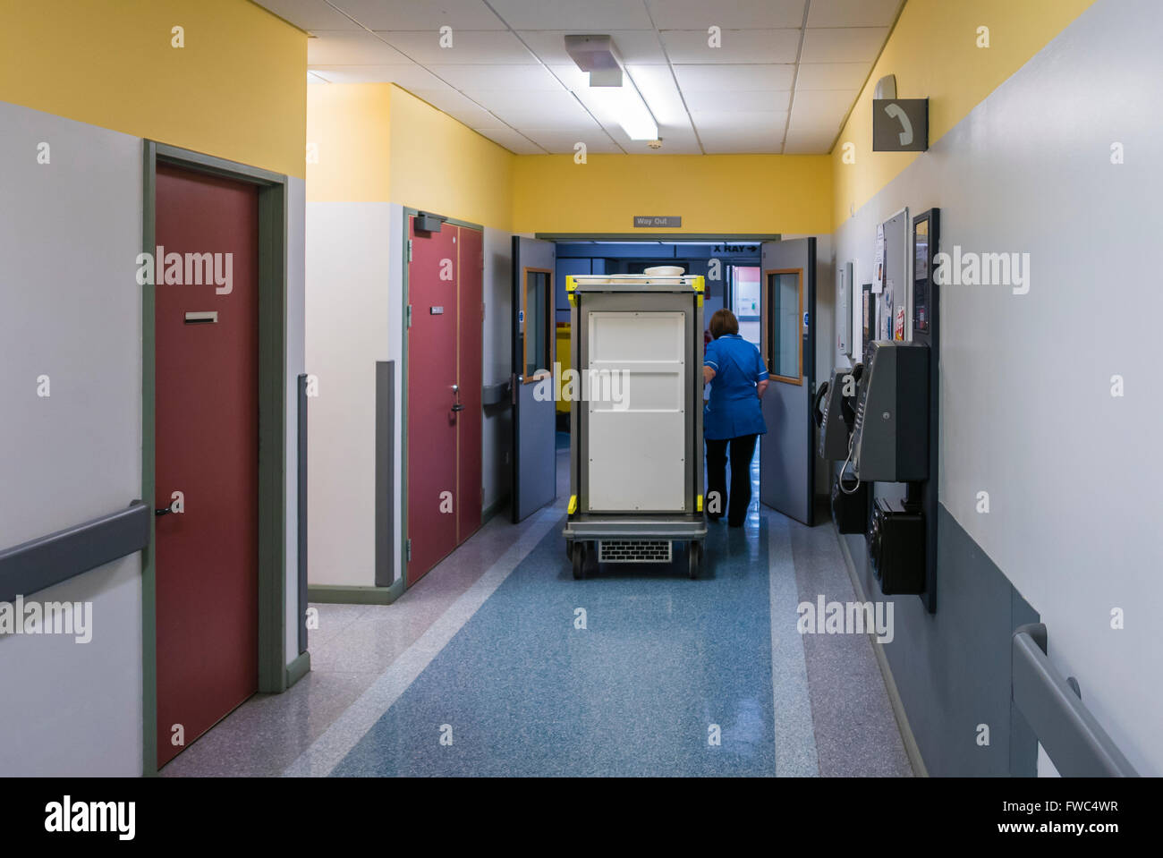 A domestic wheels a hot-meal trolley through a hospital ward. - Stock Image