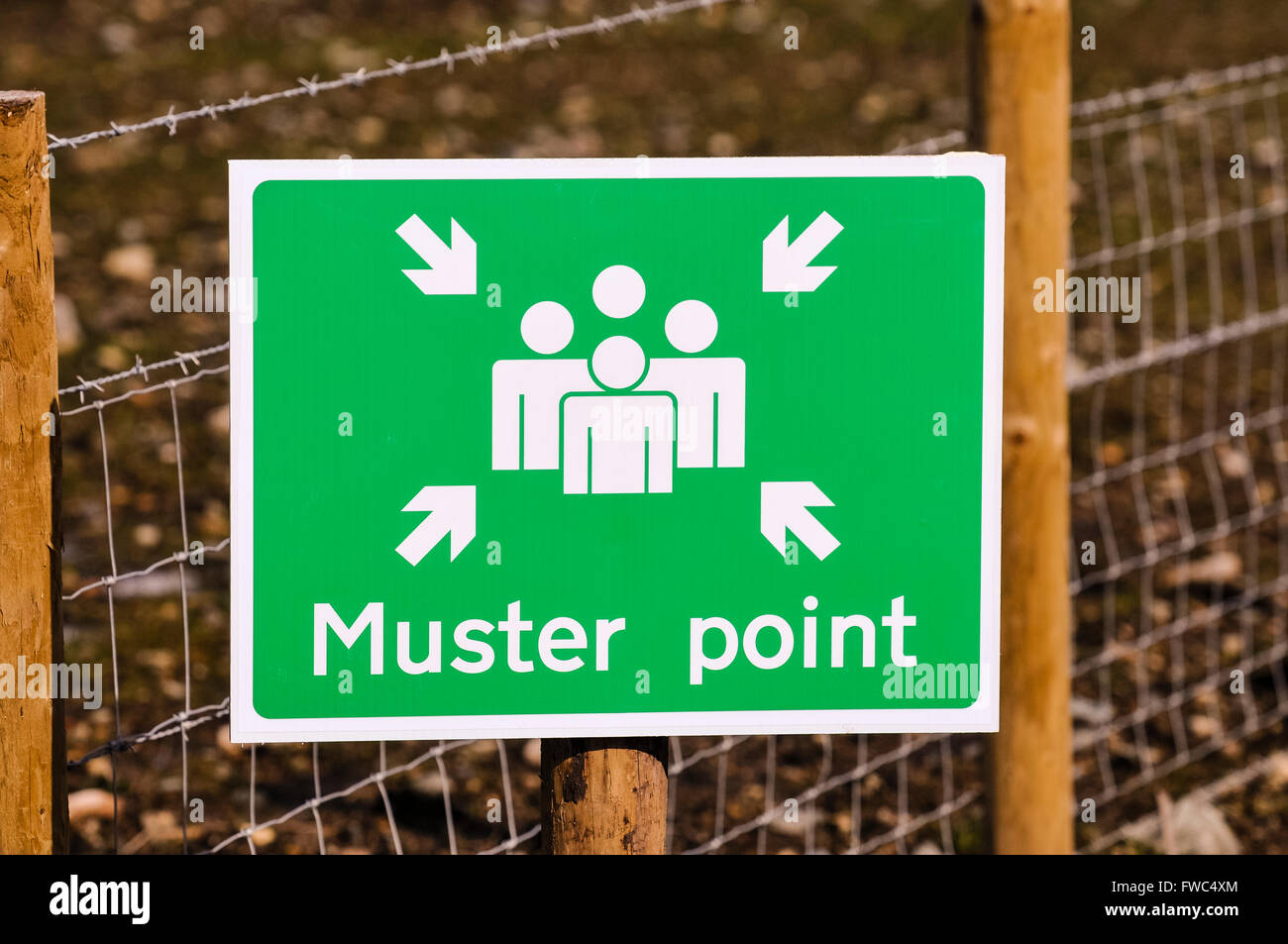 Emergency muster point on a construction site. - Stock Image