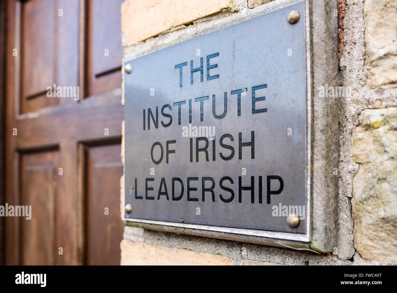 Entrance to the Institute of Irish Leadership, Pomeroy, Northern Ireland, a community based organisation promoting - Stock Image