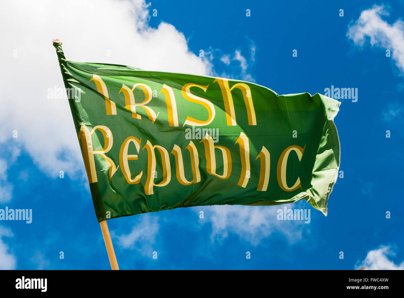 "Flag saying ""Irish Republic"", a replica of that flown during the 1916 Irish Easter Rising. Stock Photo"
