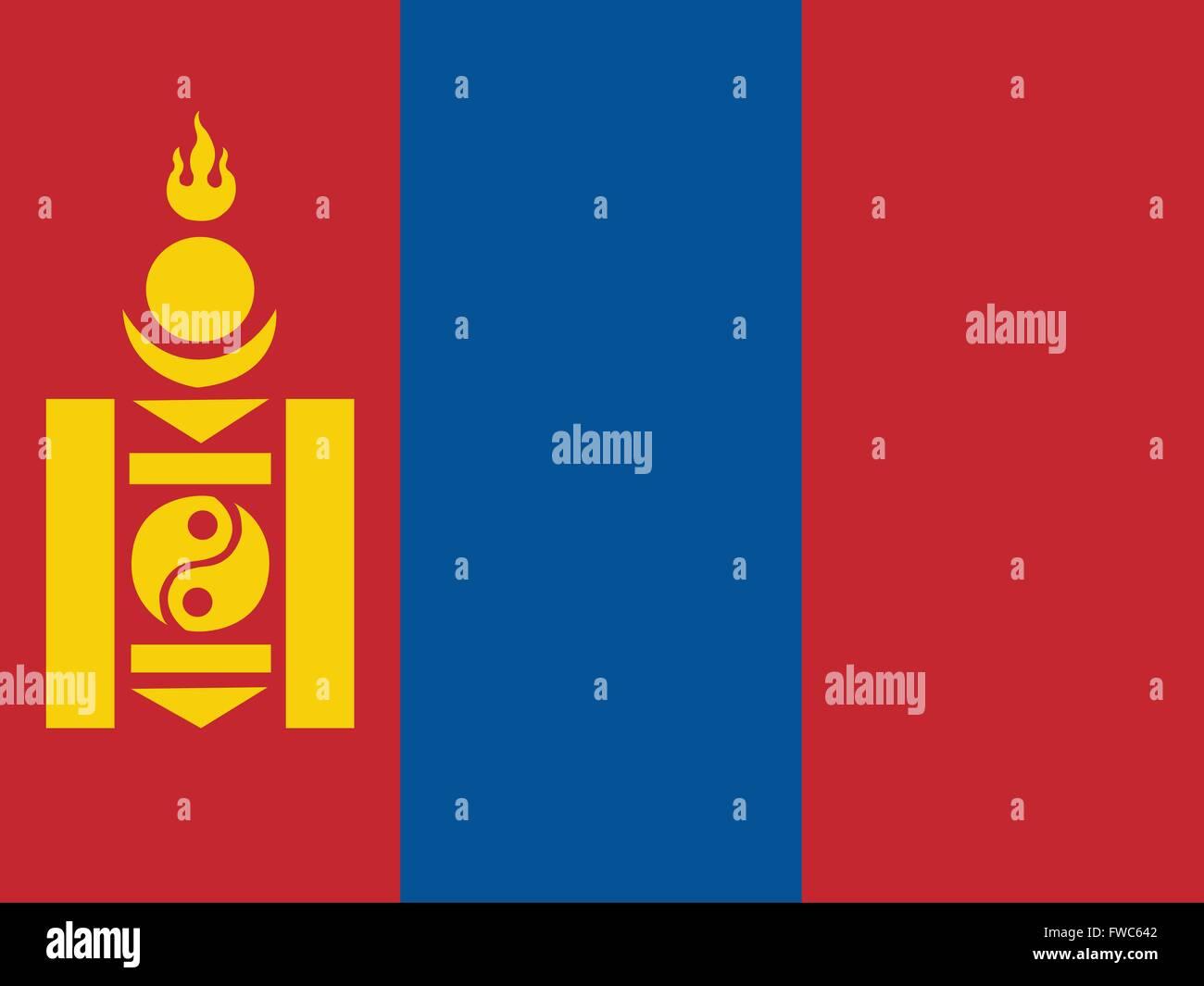 Flag of Mongolia - Stock Vector
