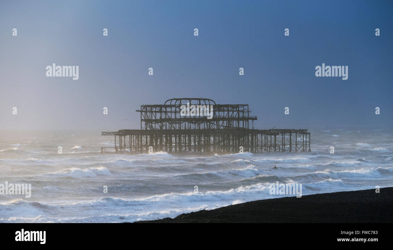 Brighton West Pier, Brighton beach, Brighton, England. - Stock Image