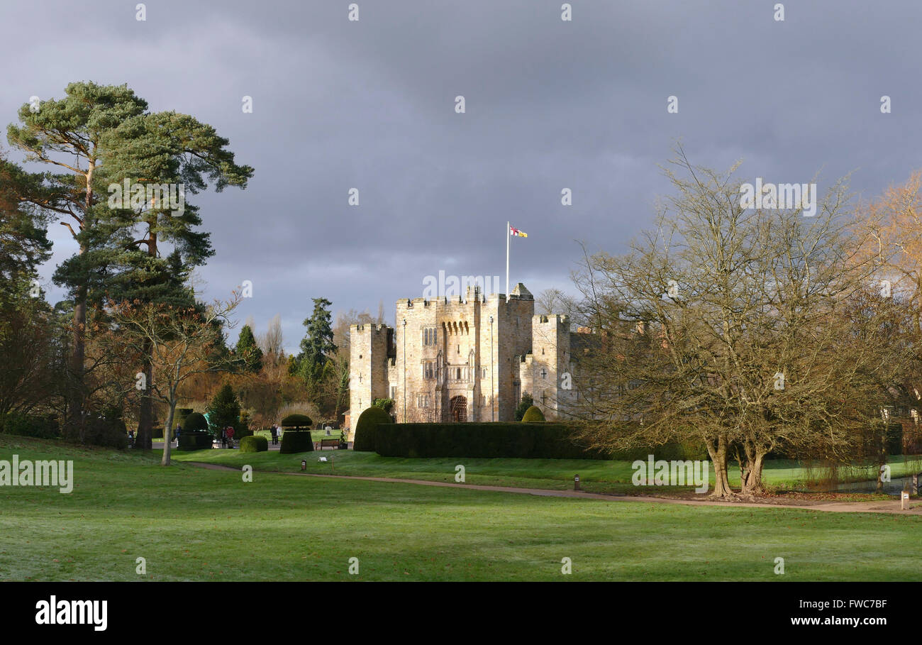 Sunset at Hever Castle, Kent, Britain - Family home of Anne Boleyn, Queen of England from 1533 to 1536. - Stock Image