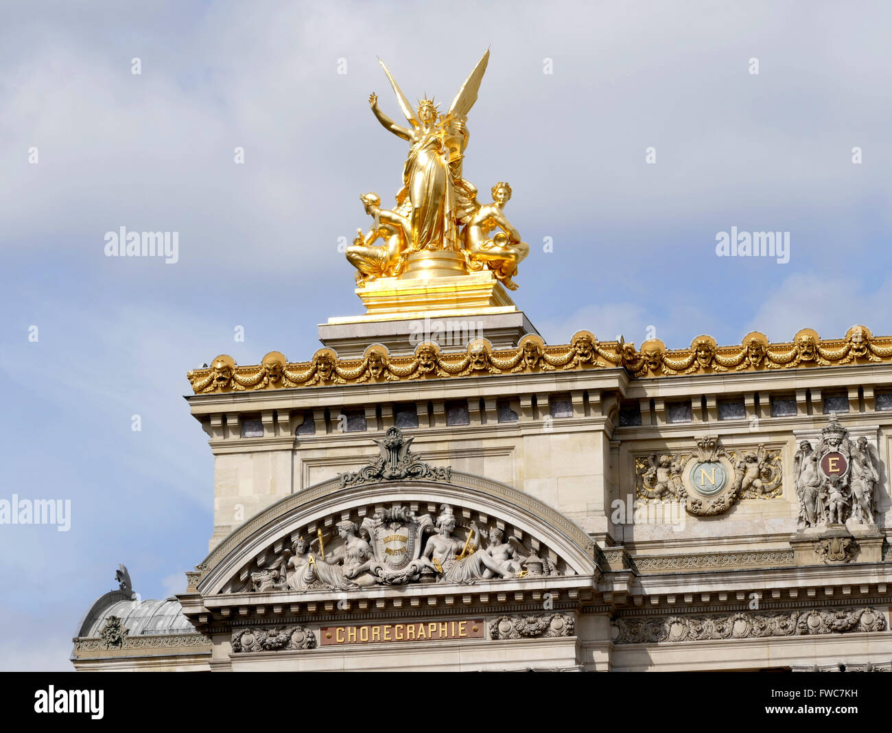Gumery Harmony statue on top of the Palais Garnier - Paris Opera House, France. - Stock Image