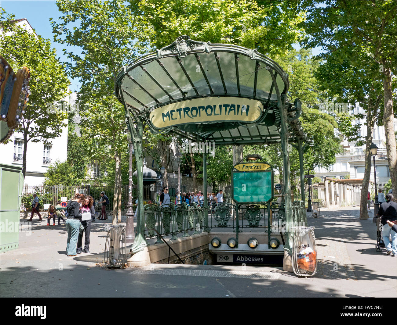 A conserved canopied Art Nouveau metro entrance designed by Hector Guimard, Place des Abbesses, Montmartre, Paris, - Stock Image