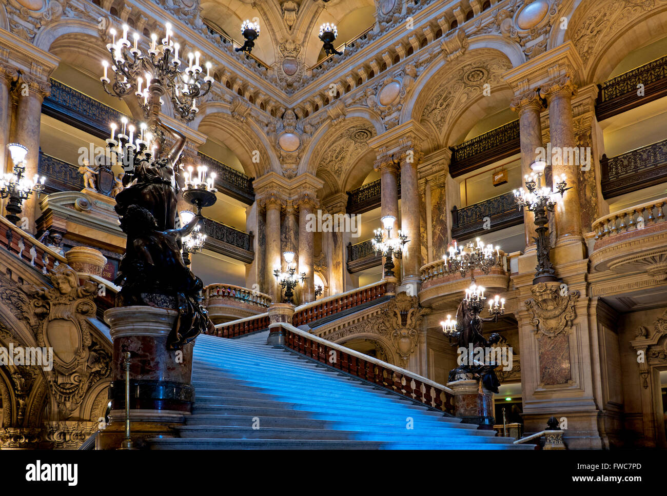 Staircase at the Opéra National de Paris Garnier, Paris, France. Designed by Charles Garnier for Napoleon III - Stock Image