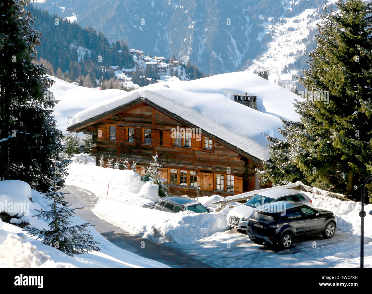 Ski chalet owned by TRH Duke and Duchess of York - Chalet Helora in Verbier, Switzerland. - Stock Image