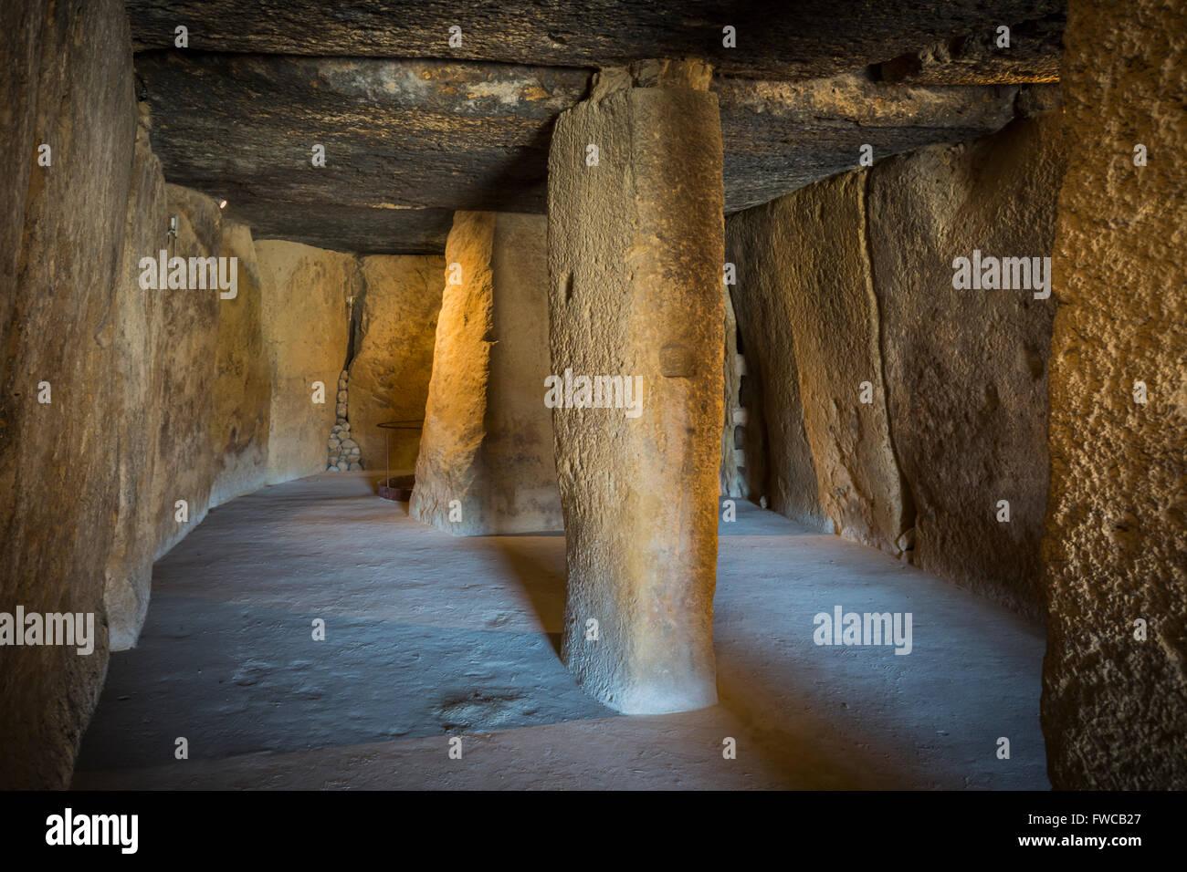 Antequera, Malaga Province, Andalusia, southern Spain.  La Menga Dolmen.  Interior. - Stock Image