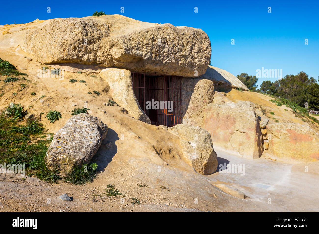 Antequera, Malaga Province, Andalusia, southern Spain.  Entrance to the La Menga Dolmen. - Stock Image