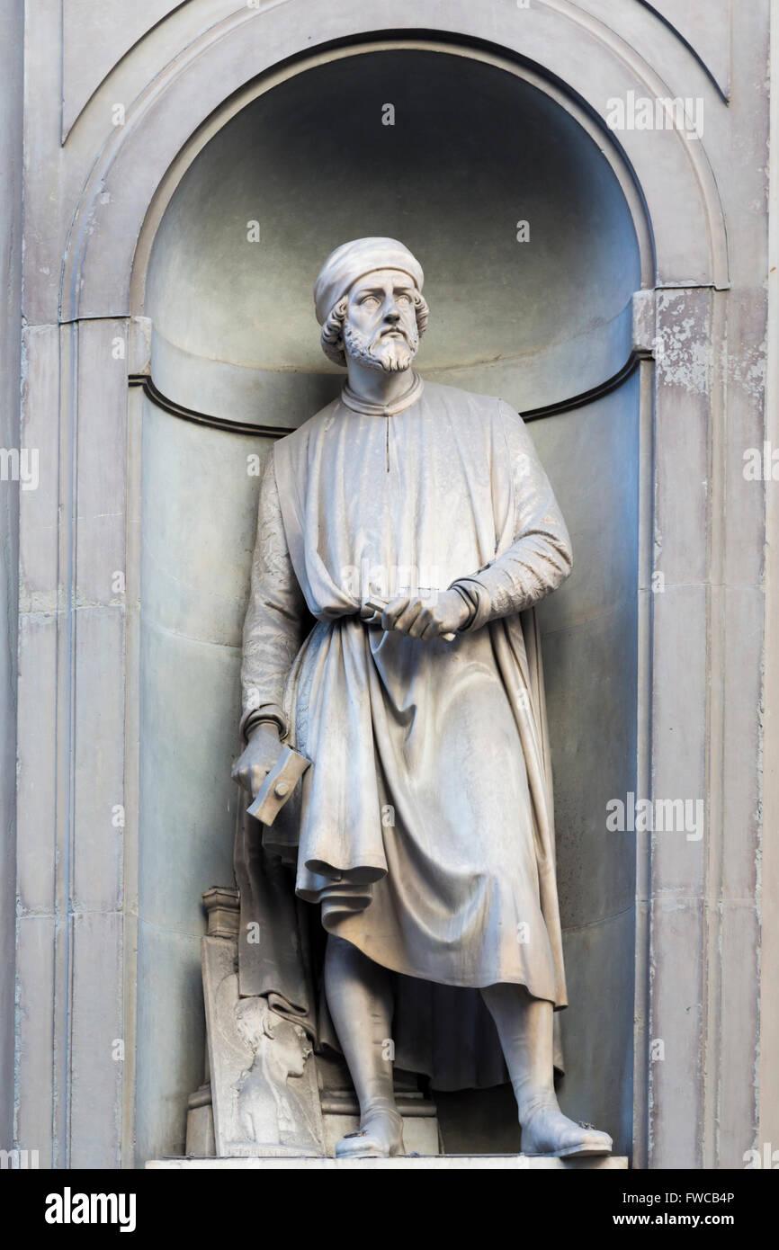 Florence, Tuscany, Italy.  Statue in Piazzale degli Uffizi of Florentine sculptor Donato di Niccolò di Betto - Stock Image