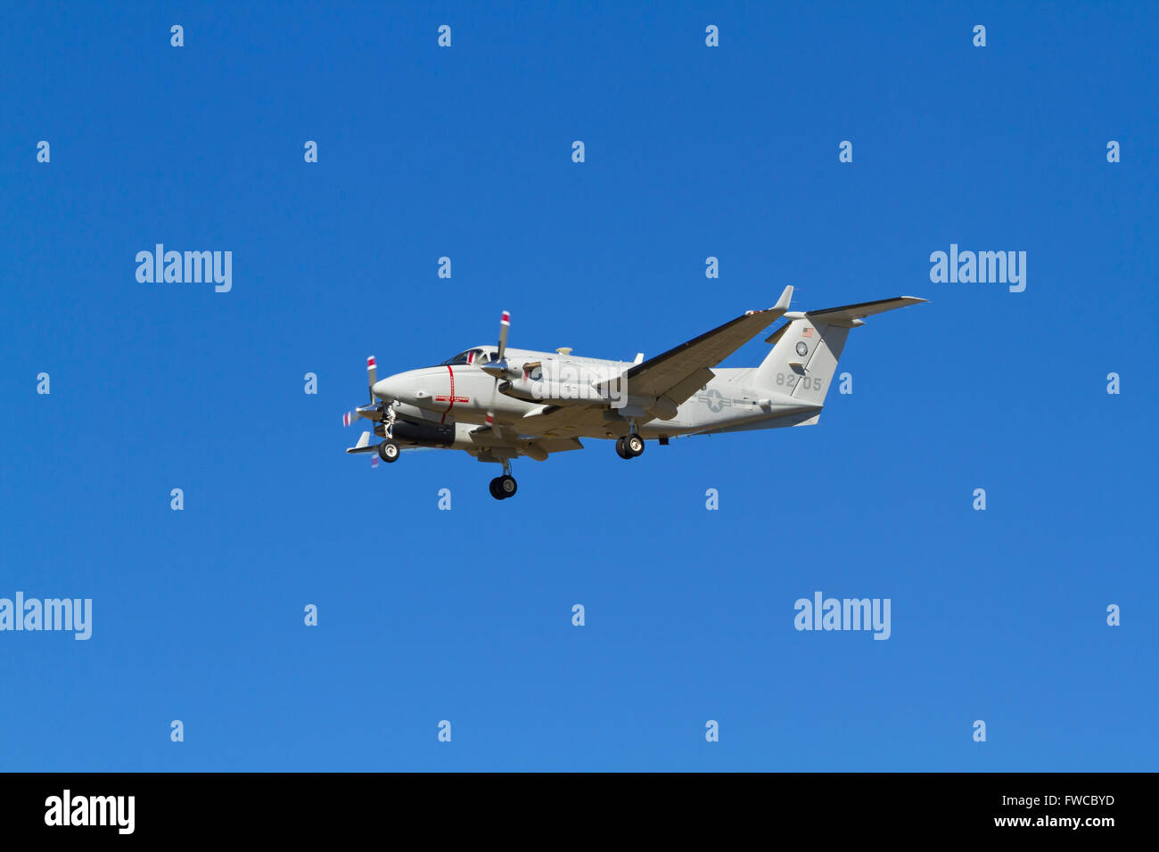 168205, Beechcraft Turboprop UC12W, Huron, USMC, US Marine Transport Squadron Belle Chasse on final approach to - Stock Image