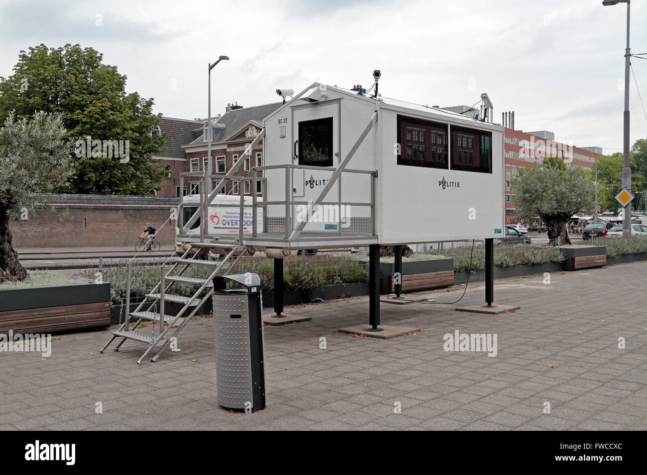 A temporary Police (Politie) CCTV unit in Amsterdam, Netherlands. Stock Photo