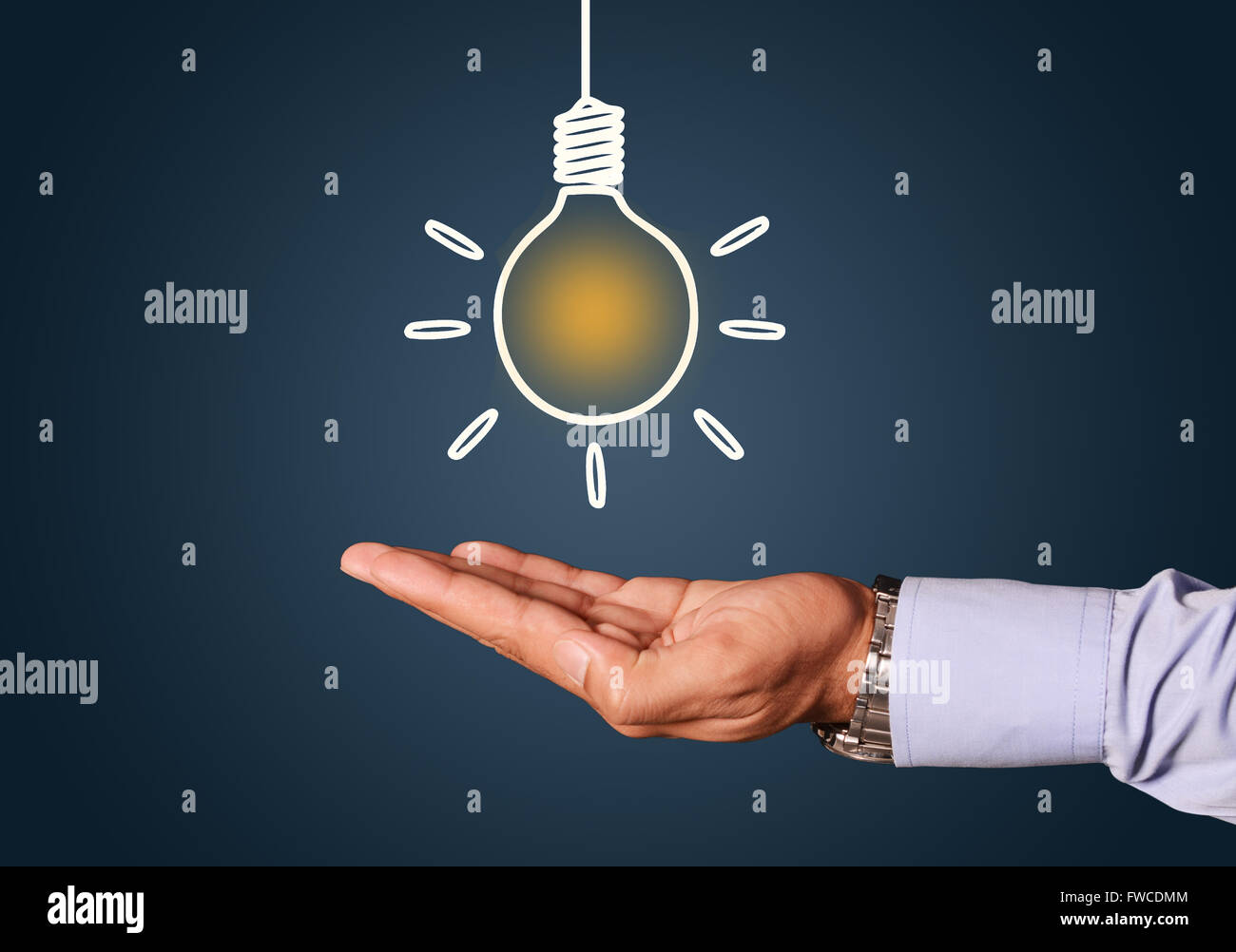 Hand on an idea bulb illustrations concept blue background. - Stock Image