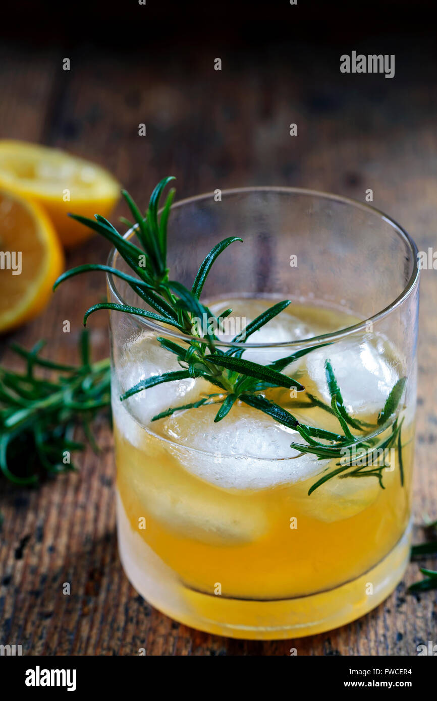 Whiskey sour cocktail with rosemary - Stock Image