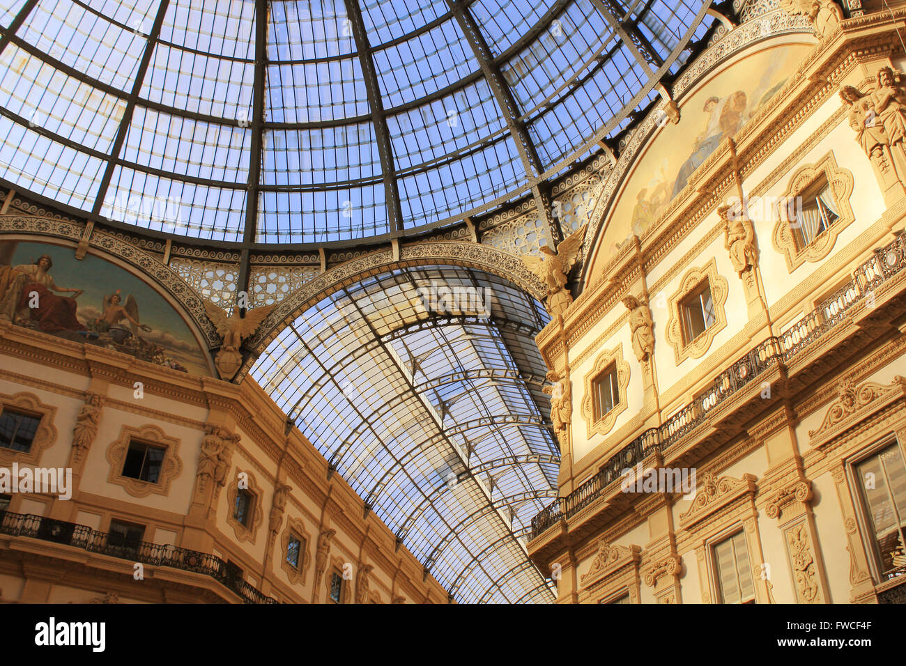 MILAN, ITALY SEPTEMBER 25, 2015: Glass roof of Victor Emanuel shopping gallery in the Milan. - Stock Image