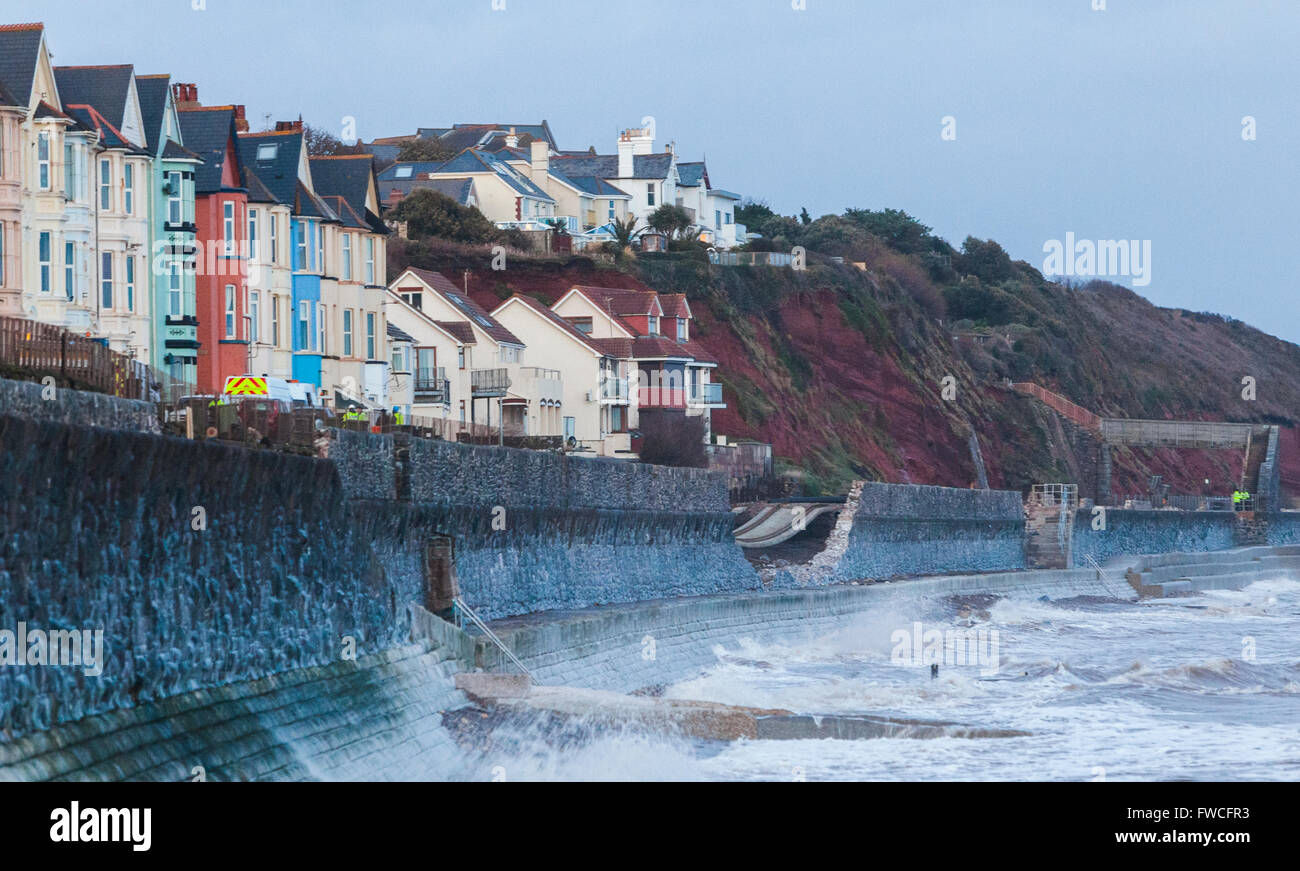 05/02/13 railway line damage due to heavy seas and storms at Dawlish, Devon, England. - Stock Image